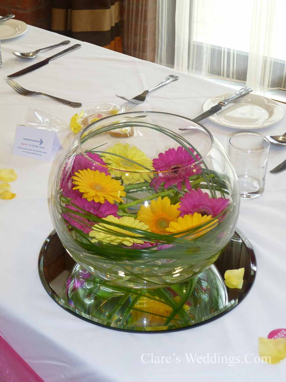 Goldfish Bowl decorated with Gerberas & Foliage