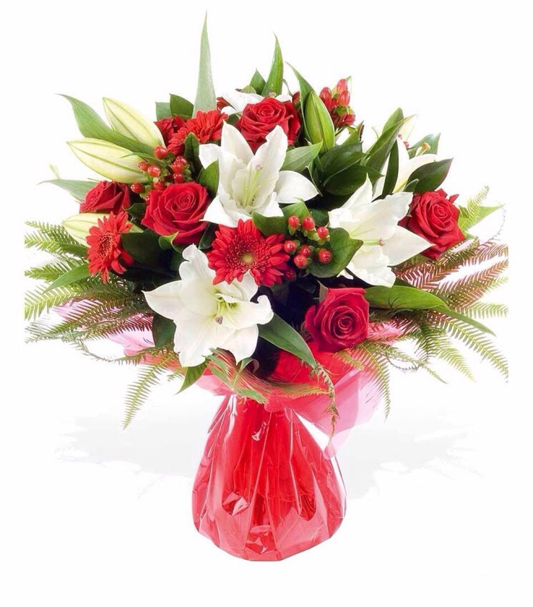 Red & White theme flowers arranged in their own water bag!