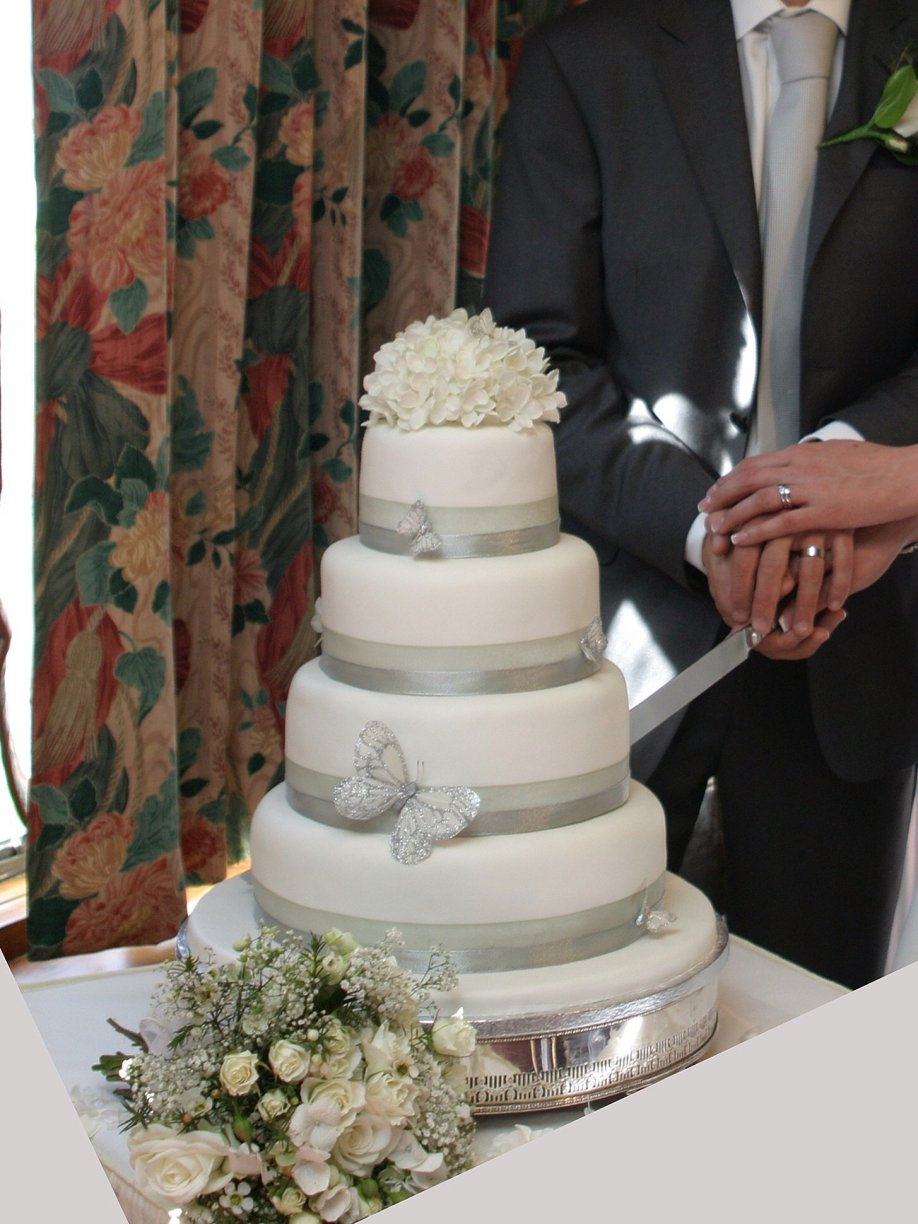 Dressed with Satin Ribbon & a Flower Cake Topper