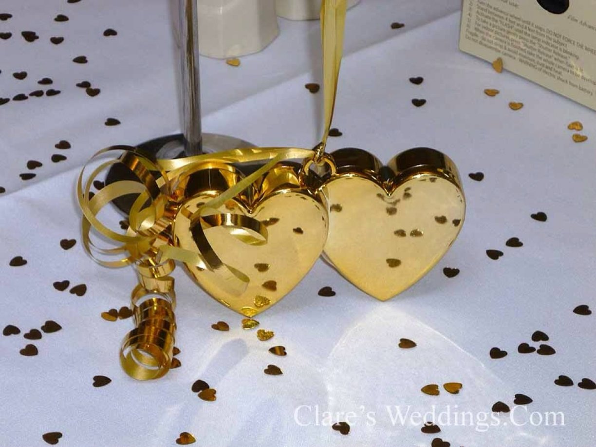 Extra Special Gold or Silver heart weights with matching Gold/Silver ribbon!