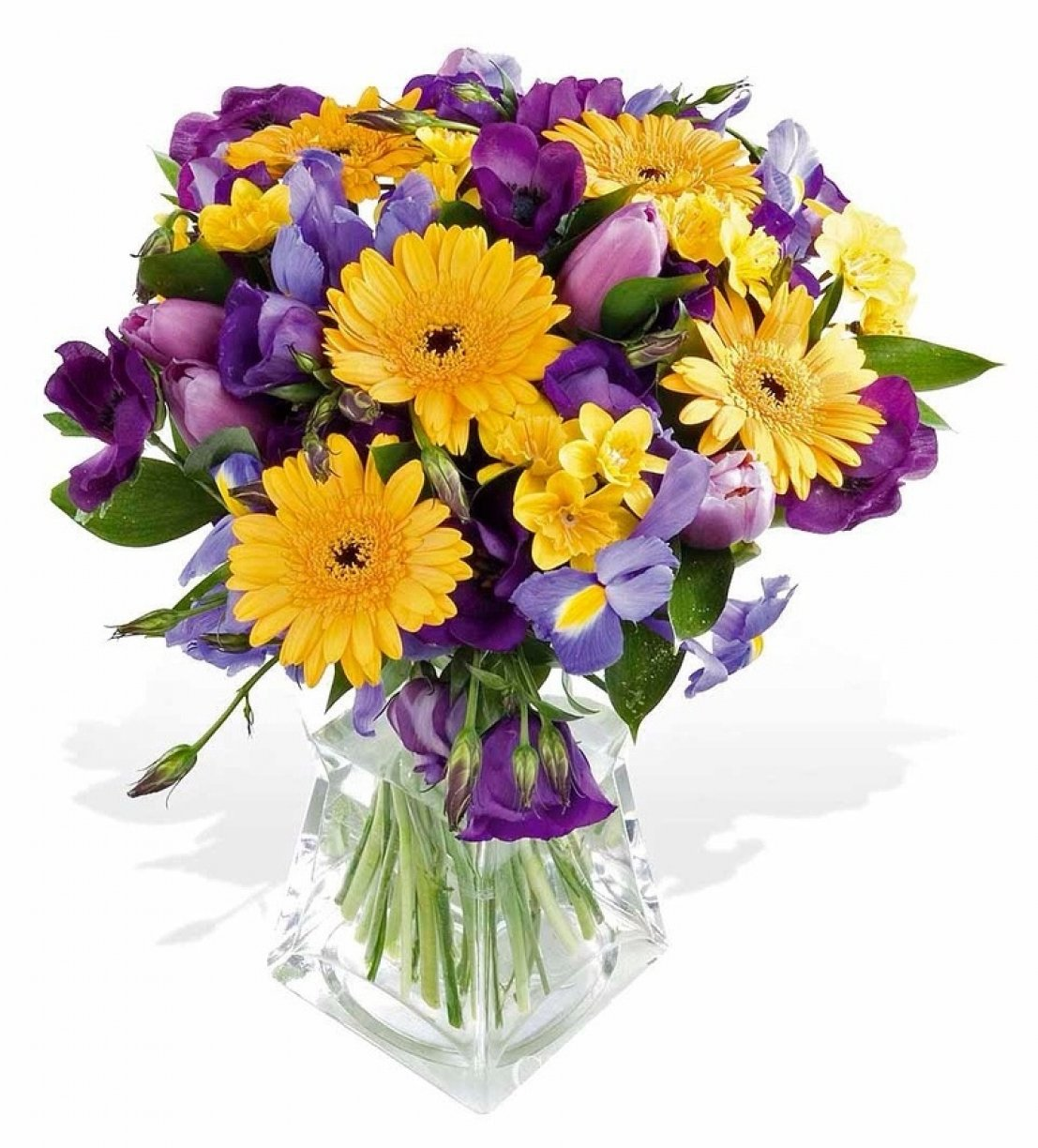 Beautiful Shades of Purple & Yellow flowers arranged in a water bag!