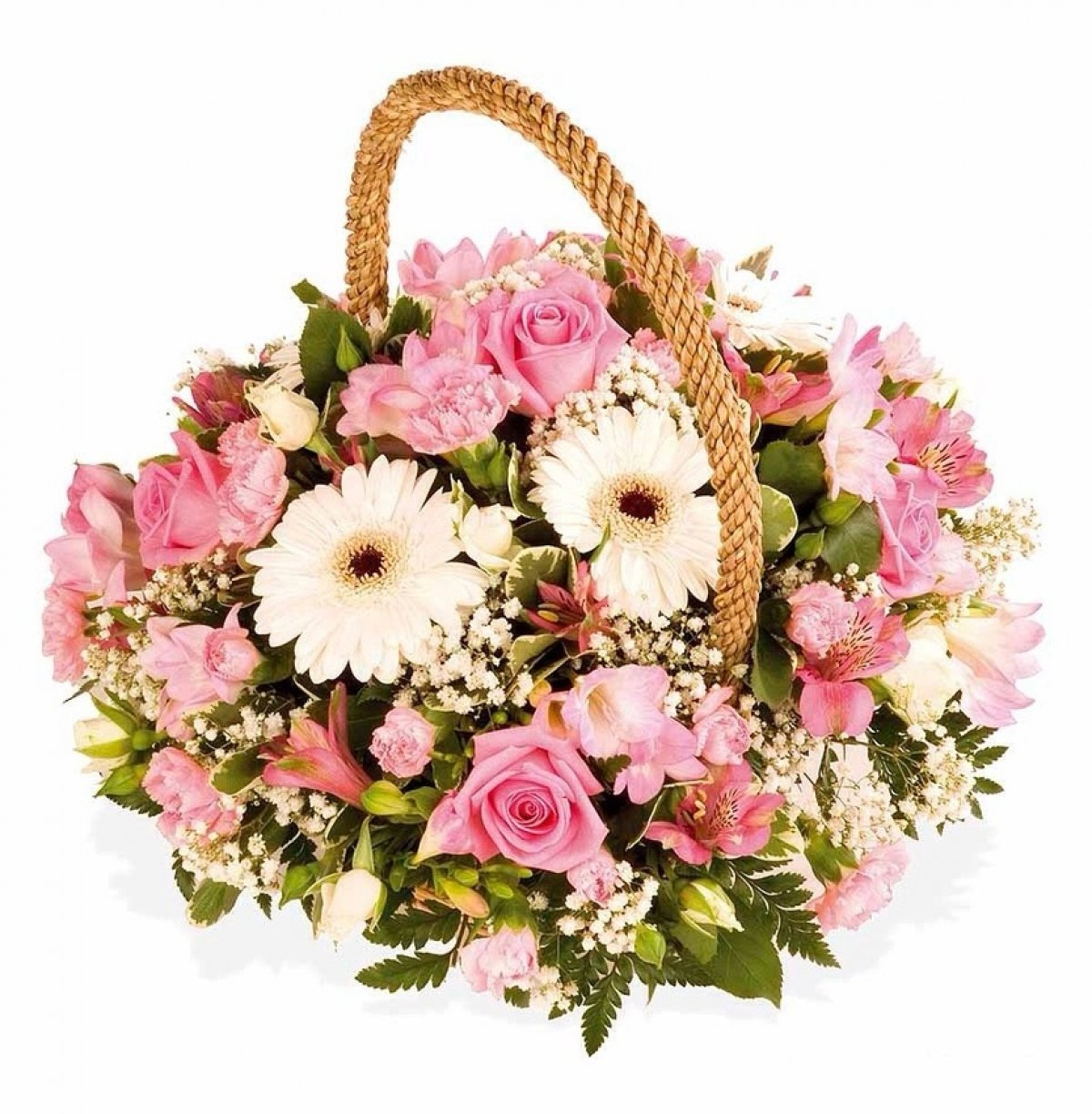 The freshest flowers arranged in an elegant hand held wicker basket!